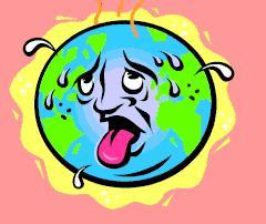 Cartoon Earth that is sweating